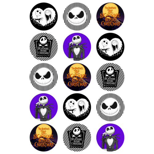 "15 x 2"" - Pumpkin King Jack Skellington Edible Cupcake Toppers - Nightmare Before Christmas Party Edible Image Cupcake"