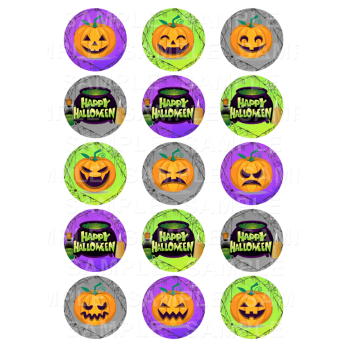 "15 x 2"" - Happy Halloween Edible Cupcake Toppers - Scary Pumpkin Cauldron Edible Image Cupcake"