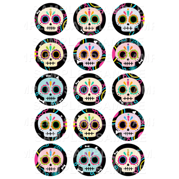 "15 x 2"" - Day of The Dead Edible Cupcake Toppers - Sugar Skulls Edible Image Cupcake"
