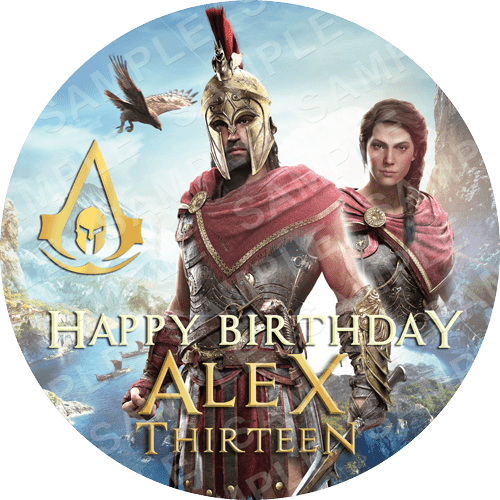 Assassin's Creed Odyssey Edible Cake Topper - Assassin's Creed Odyssey Edible Image - Round