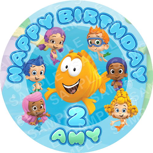 Bubble Guppies Edible Cake Topper - Bubble Guppies Edible Image - Round