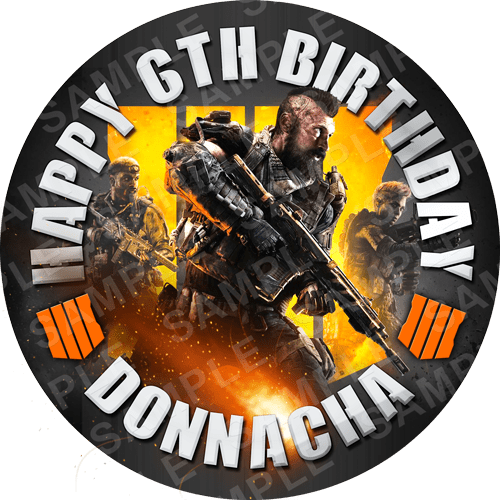 Call Of Duty Edible Cake Topper - Call Of Duty Black Ops Edible Image - Round