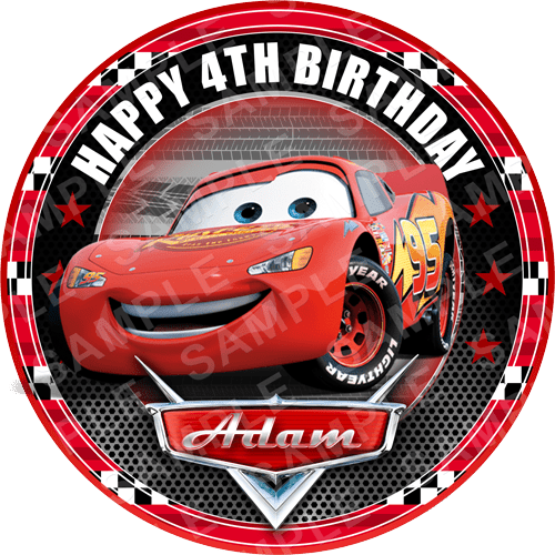 Cars Edible Cake Topper - Cars Lightening McQueen Edible Image - Round