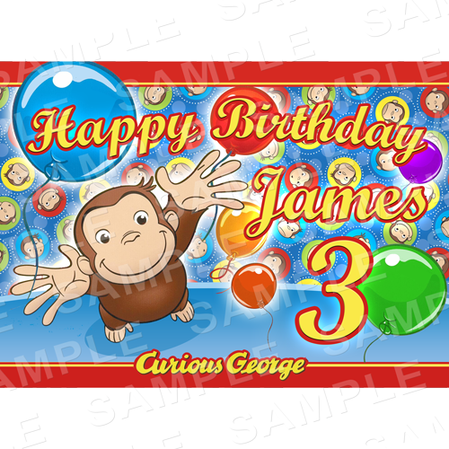 Curious George Edible Cake Topper - Curious George Edible Image - Rectangle (A4, A3, Quarter Sheet, Half Sheet)