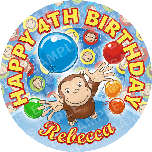Curious George Edible Cake Topper - Curious George Edible Image - Round