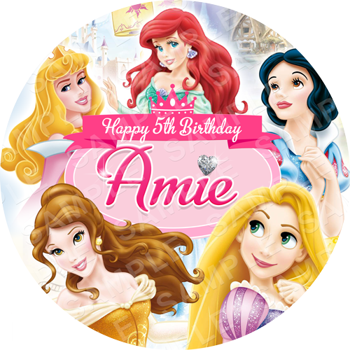 Disney Princess Edible Cake Topper - Frozen - Disney Princess Edible Image - Round