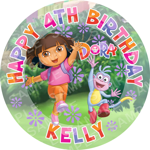 Dora The Explorer Edible Cake Topper - Frozen - Dora The Explorer Edible Image - Round