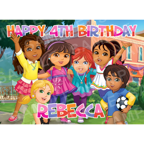 Dora and Friends Edible Cake Topper - Dora and Friends Edible Image - Rectangle (A4, A3, Quarter Sheet, Half Sheet)