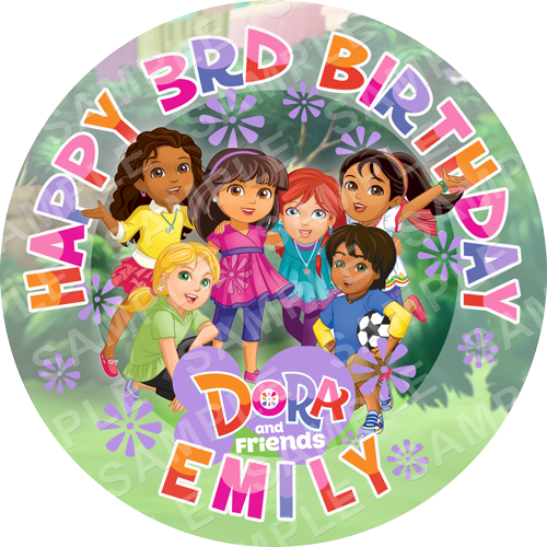 Dora and Friends Edible Cake Topper - Dora and Friends Edible Image - Round