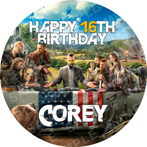 Far Cry Edible Cake Topper - Far Cry 5 Edible Image - Round