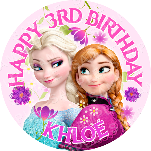 Frozen Edible Cake Topper - Frozen - Anna and Elsa Edible Image - Round