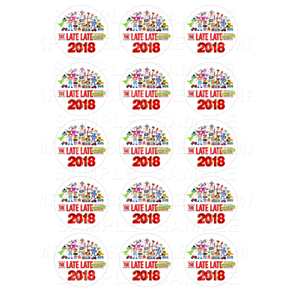 """15 x 2"""" - The Late Late Toy Show Edible Cupcake Toppers - The Late Late Toy Show Edible Image Cupcake"""