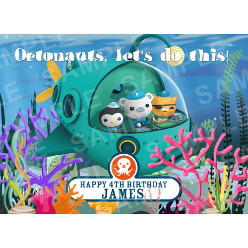 Octonauts Edible Cake Topper - Octonauts Edible Image - Rectangle (A4, A3, Quarter Sheet, Half Sheet)