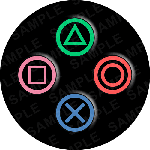 Playstation Edible Cake Topper - Playstation Buttons Edible Image - Round