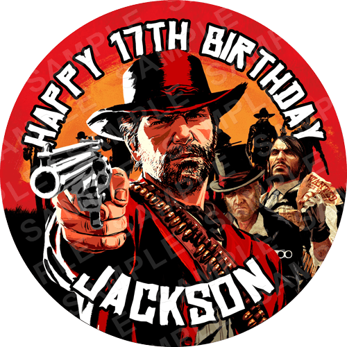 Red Dead Redemption Edible Cake Topper - Red Dead Redemption Edible Image - Round