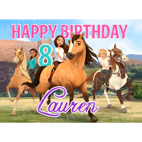Spirit Riding Free Edible Cake Topper - Spirit Netflix Series - Spirit Edible Image - Rectangle (A4, A3, Quarter Sheet, Half Sheet)