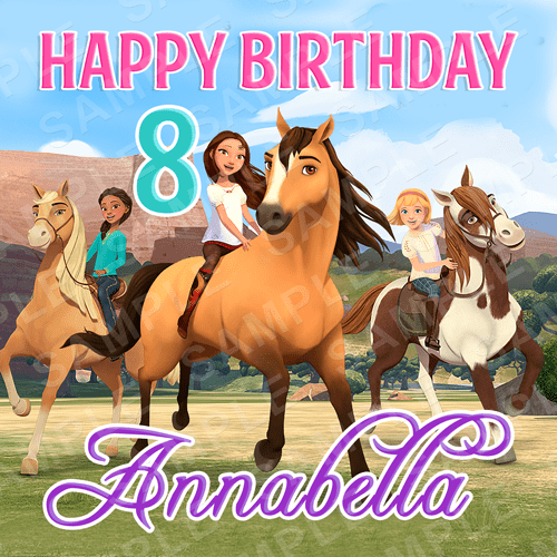 Spirit Riding Free Edible Cake Topper - Spirit Netflix Series - Spirit Edible Image - Square