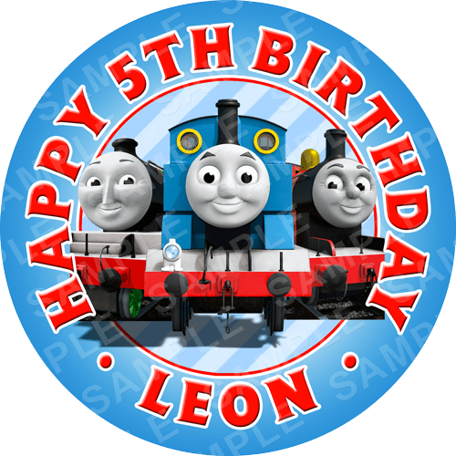 Thomas The Tank Engine Edible Cake Topper - Thomas The Tank Engine Edible Image - Round