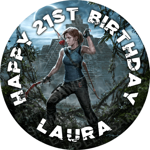 Tomb Raider Edible Cake Topper - Shadow of the Tomb Raider Edible Image - Round