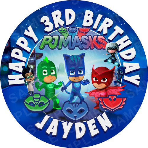 PJ Masks Edible Cake Topper - PJ Masks Edible Image - Round