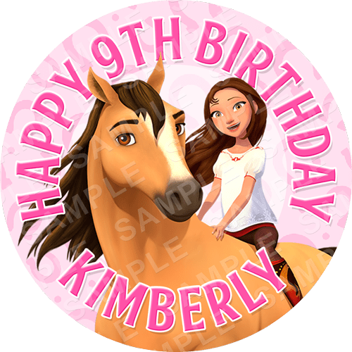 Spirit Riding Free Edible Cake Topper - Spirit Netflix Series - Spirit Edible Image - Round