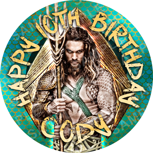 Aquaman Edible Cake Topper - Jason Momoa - Aquaman Edible Image - Round