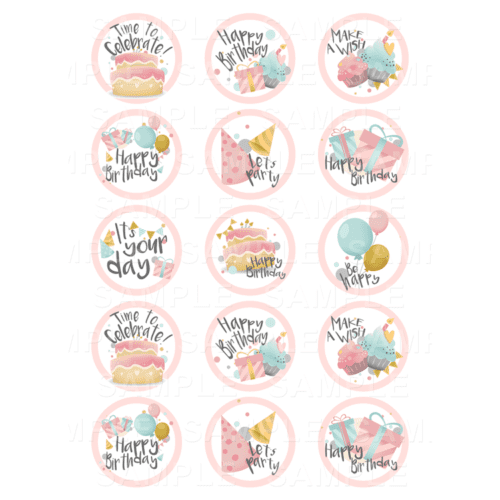 "15 x 2"" - Birthday Edible Cupcake Toppers - Birthday Edible Image Cupcake"