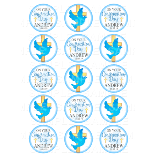 "15 x 2"" - Confirmation Dove Edible Cupcake Toppers - Confirmation Edible Image Cupcake Toppers"