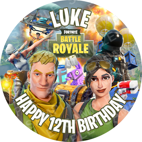 Fortnite Battle Royale Edible Cake Topper - Fortnite Edible Image - Round