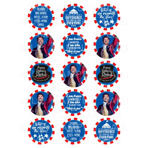 "15 x 2"" - The Greatest Showman Edible Cupcake Toppers - The Greatest Showman Edible Image Cupcake"