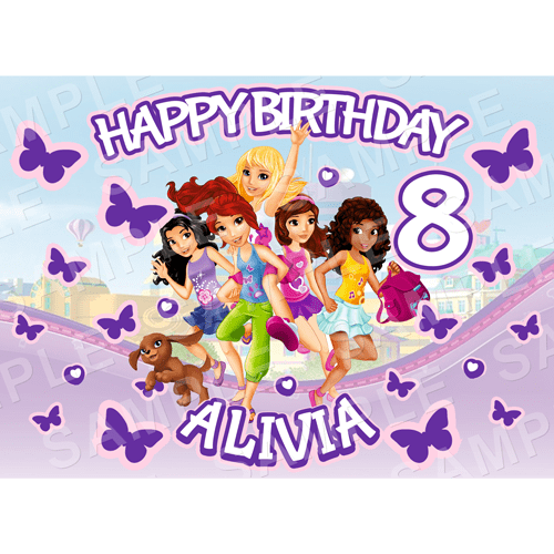 Lego Friends Edible Cake - Lego Friends Edible Image - Rectangle (A4, A3, Quarter Sheet, Half Sheet)