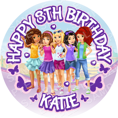 Lego Friends Edible Cake Topper - Lego Friends Edible Image - Round