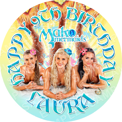 Mako Mermaids Edible Cake Topper - Mako Mermaids Edible Image - Round
