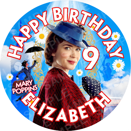 Mary Poppins Edible Cake Topper - Mary Poppins Edible Image - Round