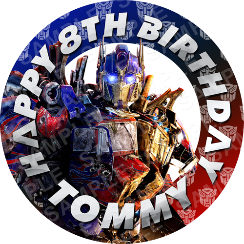 Optimus Prime Edible Cake Topper - Transformers - Optimus Prime Edible Image - Round
