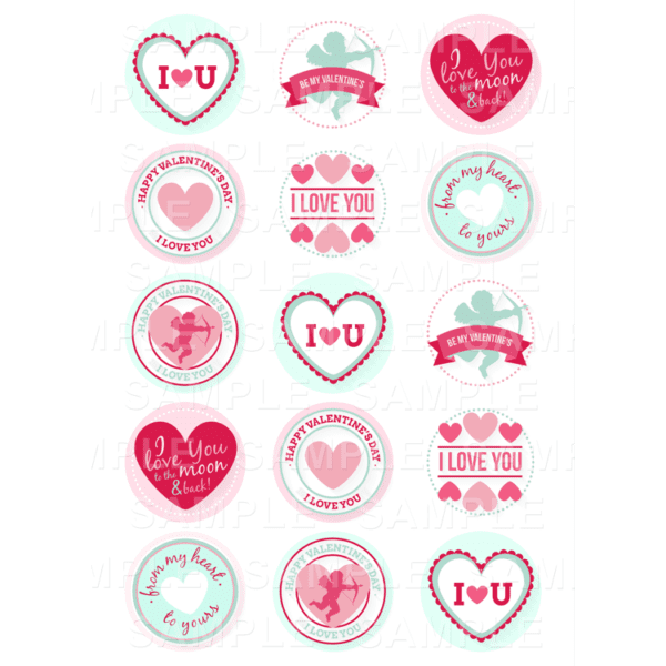 """15 x 2"""" - Valentines Edible Cupcake Toppers - Valentines Day Edible Image Cupcake Toppers"""