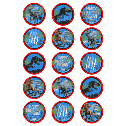 "15 x 2"" - Jurassic World Edible Cupcake Toppers - Dinosaur Edible Image Cupcake"