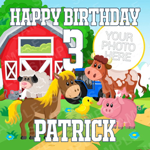 Farm Cake Topper - Farm Animals Edible Image - Square