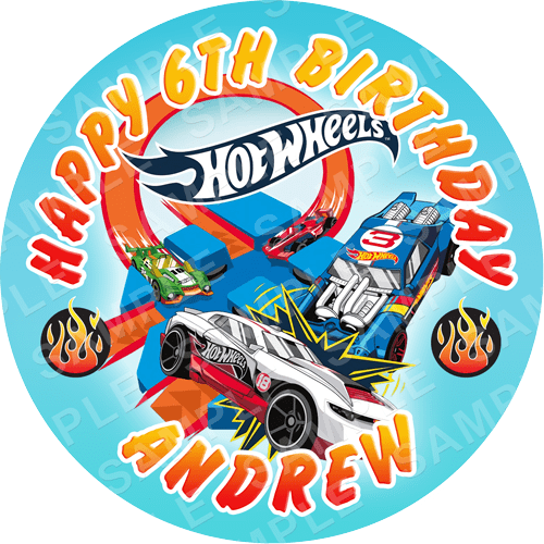 Hot Wheels Edible Cake Topper - Hot Wheels Edible Image - Round