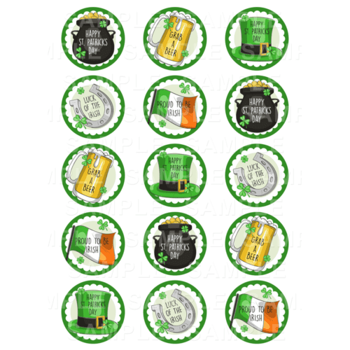 """15 x 2"""" - St. Patrick's Day Edible Cupcake Toppers - St. Patrick's Day Edible Image Cupcake Toppers"""