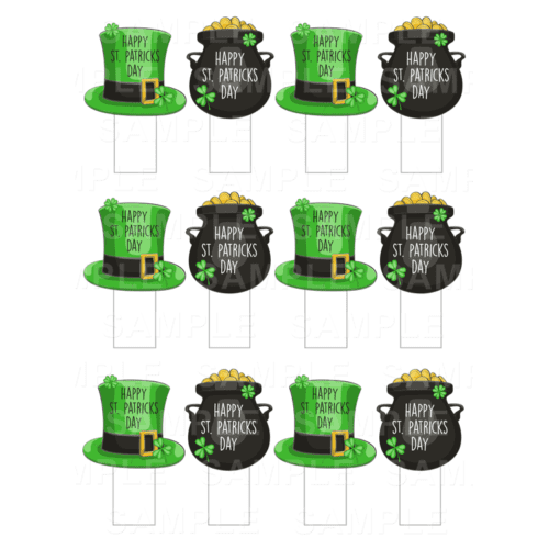 "15 x 2"" - St. Patrick's Day Stand-Up Edible Cupcake Toppers - St. Patrick's Day Edible Image Stand-Up Cupcake Toppers"