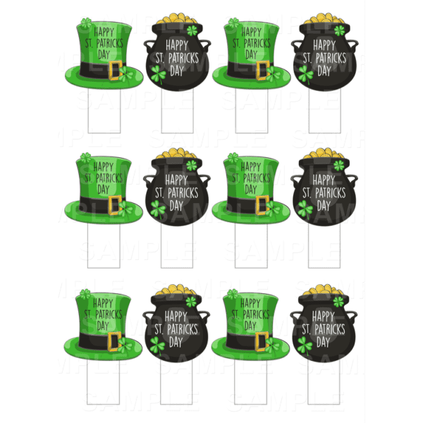 """15 x 2"""" - St. Patrick's Day Stand-Up Edible Cupcake Toppers - St. Patrick's Day Edible Image Stand-Up Cupcake Toppers"""