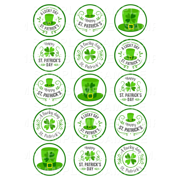 "15 x 2"" - St. Patrick's Day Edible Cupcake Toppers - St. Patrick's Day Edible Image Cupcake Toppers"
