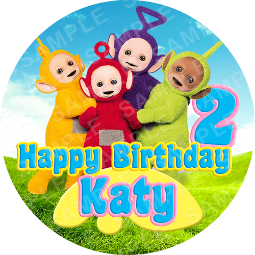 Teletubbies Edible Cake Topper - Teletubbies Edible Image - Round