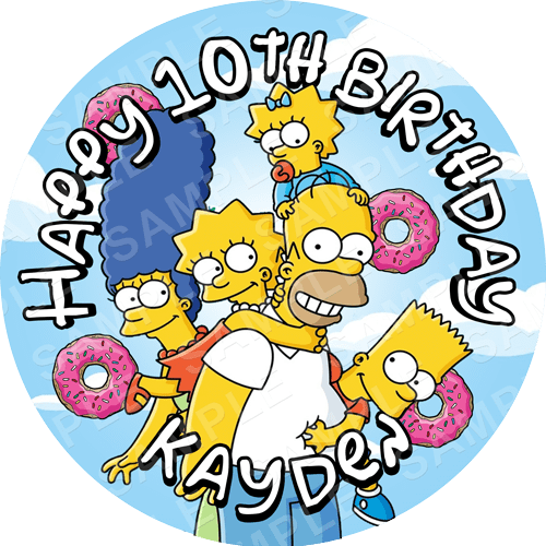 The Simpsons Edible Cake Topper - The Simpsons Edible Image - Round