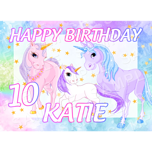 Unicorn Edible Cake Topper - Unicorn Edible Image - Rectangle (A4, A3, Quarter Sheet, Half Sheet)
