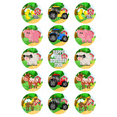 "15 x 2"" - Farm Animals Tractors Edible Cupcake Toppers - Farm Animals Tractors Edible Image Cupcake Toppers"