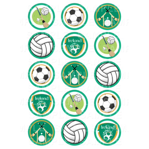 "15 x 2"" - Irish Sport Edible Cupcake Toppers - Irish Sport Edible Image Cupcake Toppers"