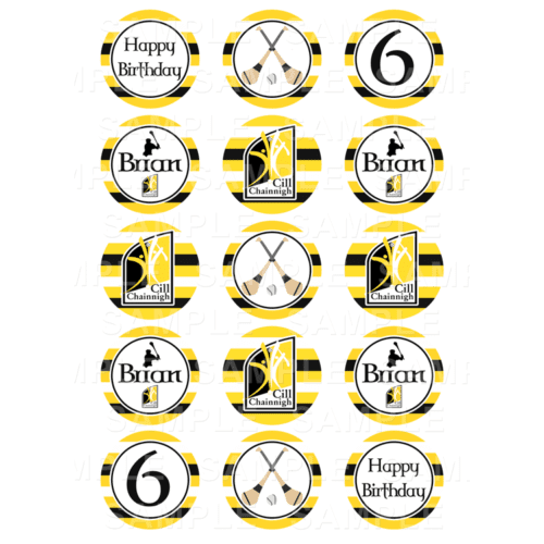 "15 x 2"" - Kilkenny Hurling Edible Cupcake Toppers - Kilkenny Hurling Edible Image Cupcake Toppers"