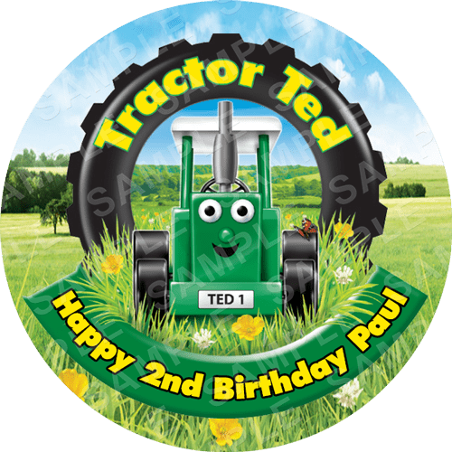 Tractor Ted Edible Cake Topper - Tractor Ted Edible Image - Round